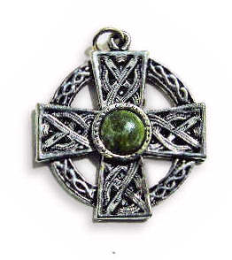 Celtic Cross Charm with Connemara Marble