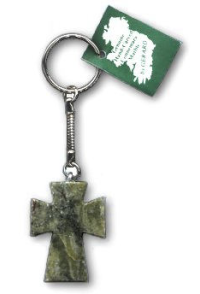 Celtic Cross Connemara Marble Key Ring