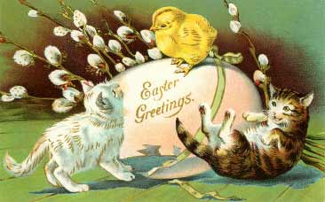 Easter Greetings, Kittens, Chick and Egg