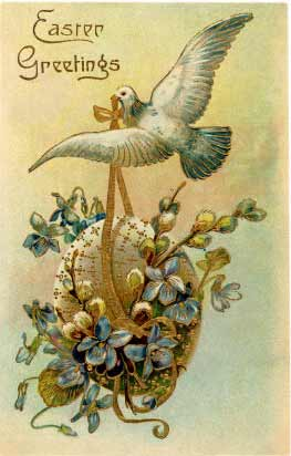 Easter Greeting, Dove Carrying Egg
