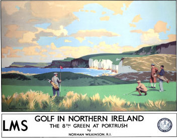 Golf in Northern Ireland, LMS Poster, circa 1925