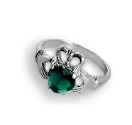 Irish Claddagh Ring Sterling Silver Green Onyx Heart